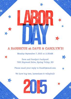 Red, White and Blue Labor Day Invite 5x7 Flat Card