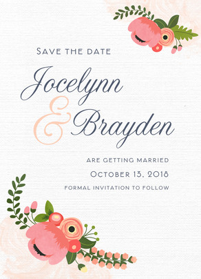 Vintage Floral Look Save-the-date 5x7 Flat Card