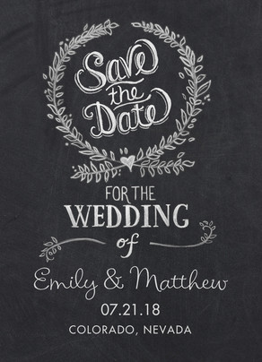 Chalkboard Design Save-the-date 5x7 Flat Card