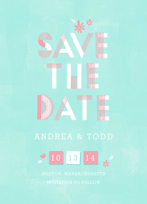 Pastel Lettering Design Save-the-date 5x7 Flat Card