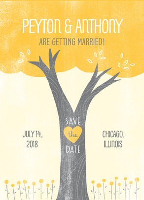 Letterpress Tree Save-the-date 5x7 Flat Card