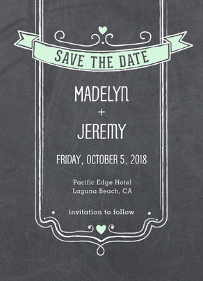 Chalkboard with Banner Save-the-date 5x7 Flat Card