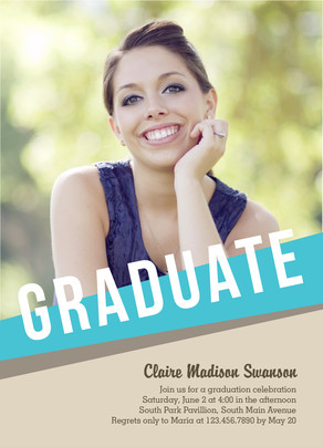 Graphic Blue Grad Invitation 5x7 Flat Card