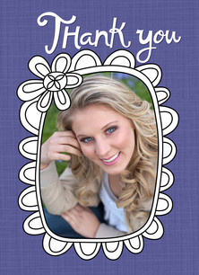 Grad Photo Frame Thank You 3.75x5.25 Folded Card