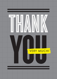 Modern Type Grad Thank You 3.75x5.25 Folded Card