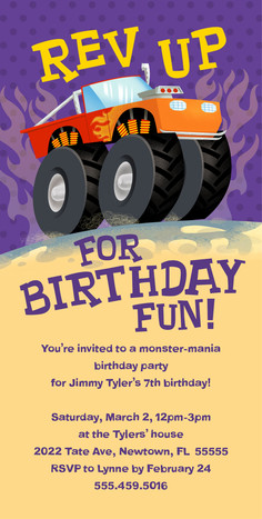 Monster Truck Birthday Invitation 4x8 Flat Card