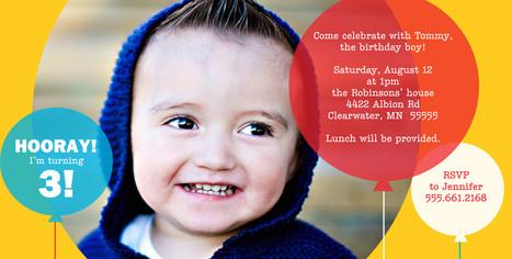 Photo & Balloons Invitation Yellow 8x4 Flat Card