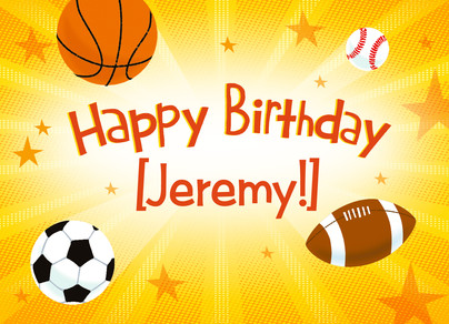 Sports Birthday with Name 7x5 Folded Card