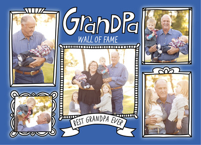 Grandpa Wall of Fame Frames 7x5 Folded Card