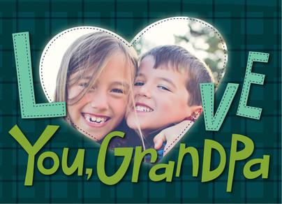 Grandpa Photo with Stitching 7x5 Folded Card