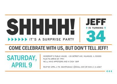 Block Lettering Surprise Party Invitation 7x5 Flat Card