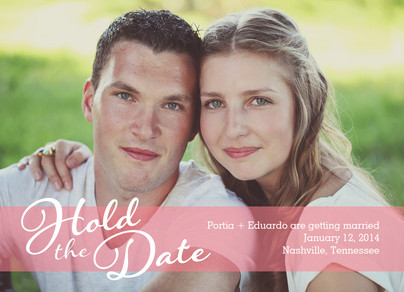 Photo Save-the-date with Pink Overlay 7x5 Flat Card