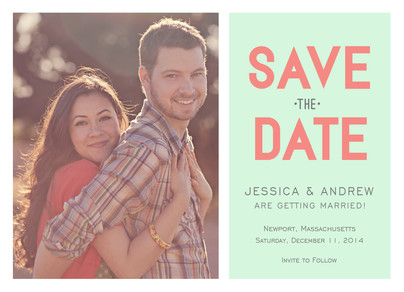 Block Lettering Photo Save-the-date 7x5 Flat Card