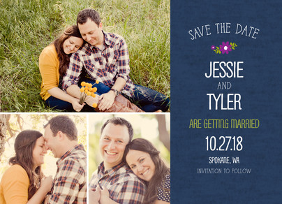 Lettering on Blue Save-the-date 7x5 Flat Card