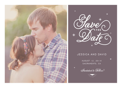 Script & Sparkles Photo Save-the-date 7x5 Flat Card