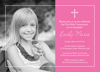 Photo Communion Invitation - Girl 7x5 Flat Card