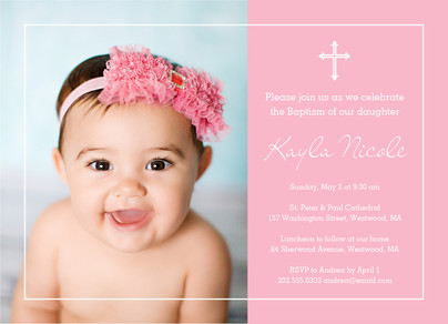 Photo Baptism Invitation - Girl 7x5 Flat Card