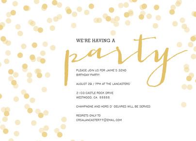 Script & Shimmer Party Invitation 7x5 Flat Card