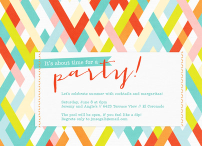 Colorful Stripes Party Invitation 7x5 Flat Card