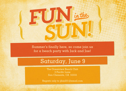 Fun in the Sun Party Invitation 7x5 Flat Card