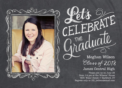 Chalkboard Photo Grad Announcement 7x5 Flat Card
