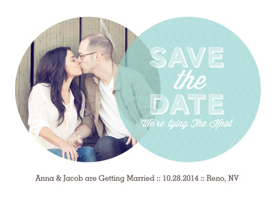 Circle Overlay Photo Save-the-date 7x5 Flat Card