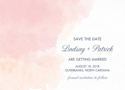 Pink Watercolor Save-the-date 7x5 Flat Card
