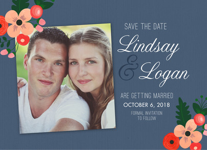 Vintage Floral & Photo Save-the-date 7x5 Flat Card
