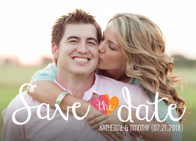 Lettering Overlay Save-the-date 7x5 Flat Card