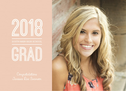 2015 Photo Grad Peach 7x5 Flat Card