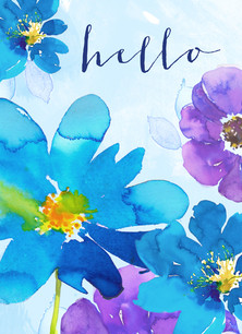 Watercolor Floral Stationery 3.75x5.25 Folded Card