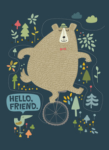 Bear on Unicycle Hello 3.75x5.25 Folded Card