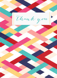 Bold Pattern Colorful Thank You 3.75x5.25 Folded Card