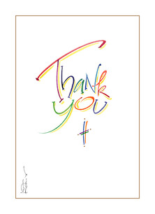 Colorful Lettering Thank You 3.75x5.25 Folded Card