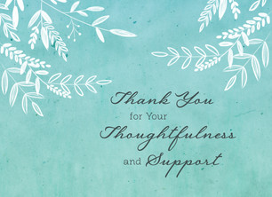 Watercolor Sympathy Thank You 5.25x3.75 Folded Card