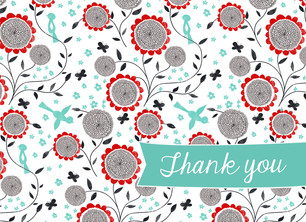 Graphic Floral Thank You 5.25x3.75 Folded Card