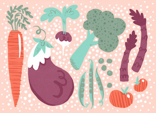 Illustrated Vegetables 5.25x3.75 Folded Card
