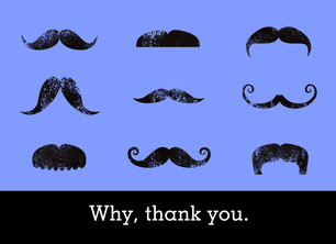 Thank You Mustaches 5.25x3.75 Folded Card