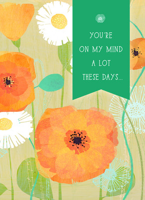 On My Mind Floral with Banner 5x7 Folded Card