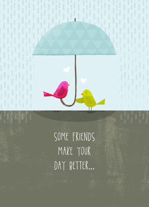 Friendship Birds with Umbrella 5x7 Folded Card
