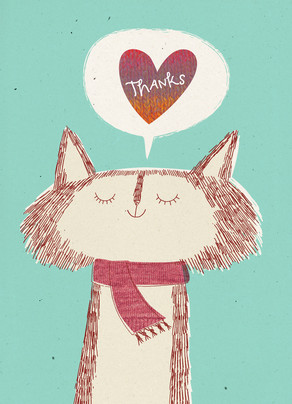 Thank You Cat with Scarf 5x7 Folded Card
