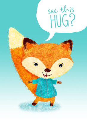 Cute Fox with a Hug 5x7 Folded Card