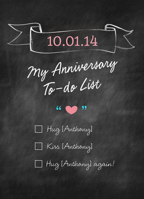 Anniversary To-do List 5x7 Folded Card