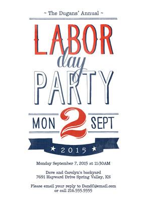 Red, White & Blue Labor Day Invite 5x7 Flat Card
