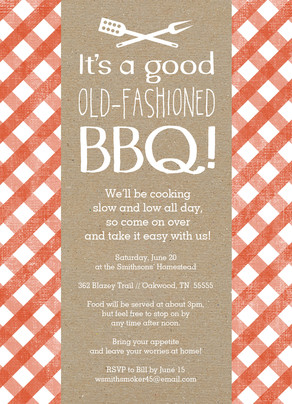 Tablecloth Pattern BBQ Invitation 5x7 Flat Card