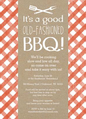 Tablecloth Pattern BBQ Invitation 5x7 Flat Card