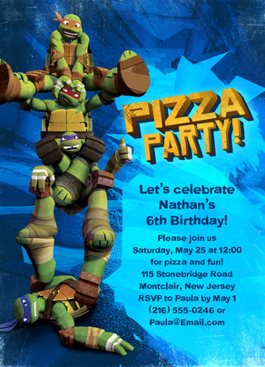 Ninja Turtle Pizza Party Invitation Happy Birthday Invitation