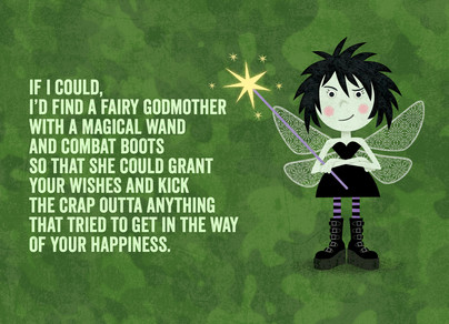 Fairy Godmother in Combat Boots 7x5 Folded Card