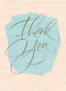 Rustic Watercolor Thank You 3.75x5.25 Folded Card