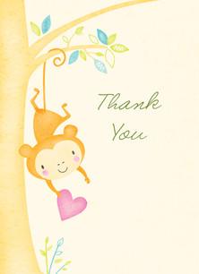 Baby Shower Monkey Thank You 3.75x5.25 Folded Card